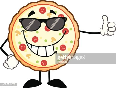 Funny Pizza With Sunglasses Holding A Thumb up Clipart Image.