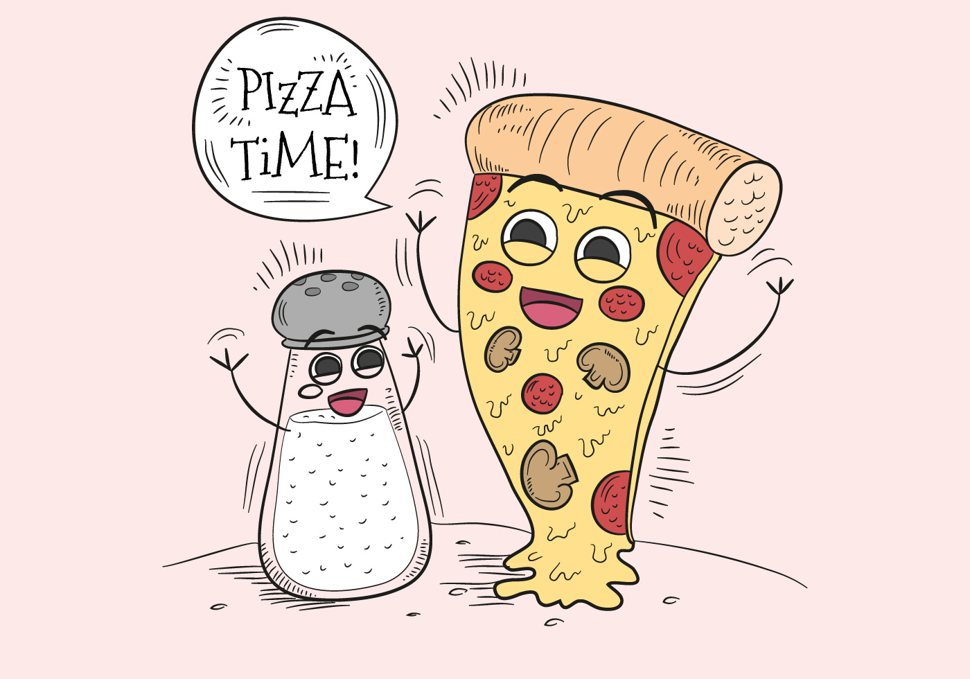 Funny Pizza And Salt Character for Pizza Time.