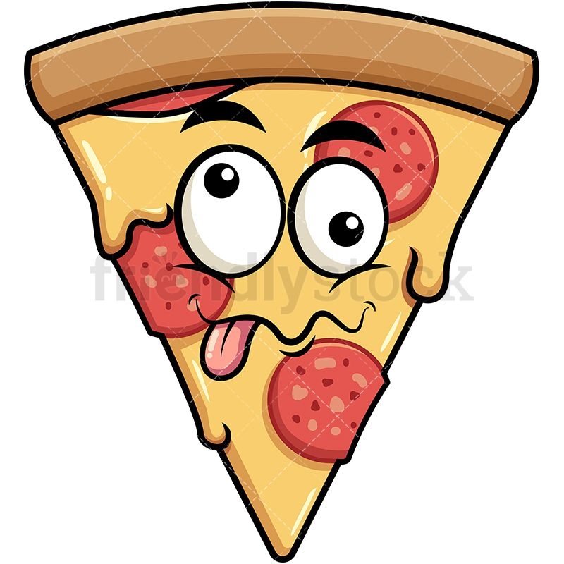 Goofy Crazy Eyes Pizza Emoji.