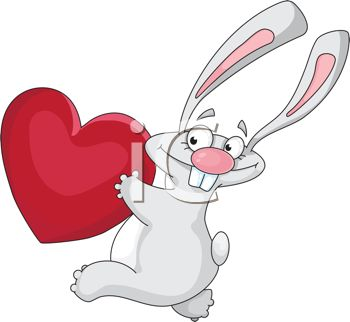 Funny Rabbit Running with a Heart.