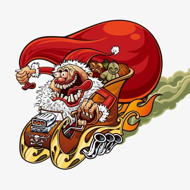 Funny santa claus PNG clipart.