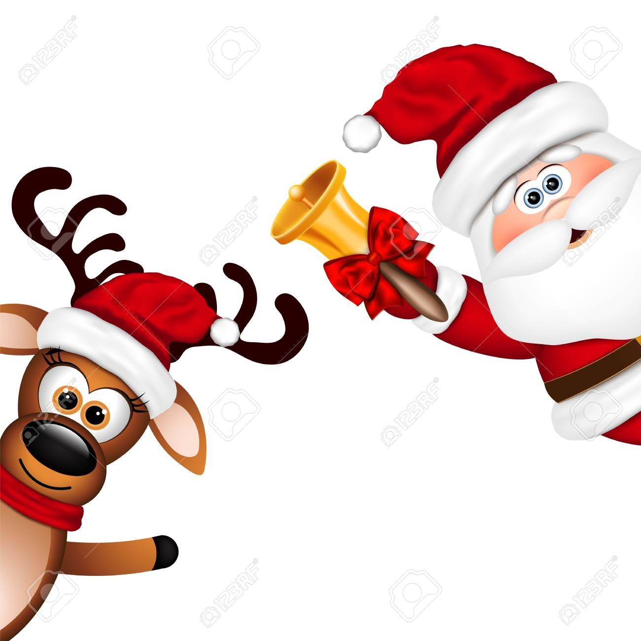 Funny Santa and Reindeer on white background..