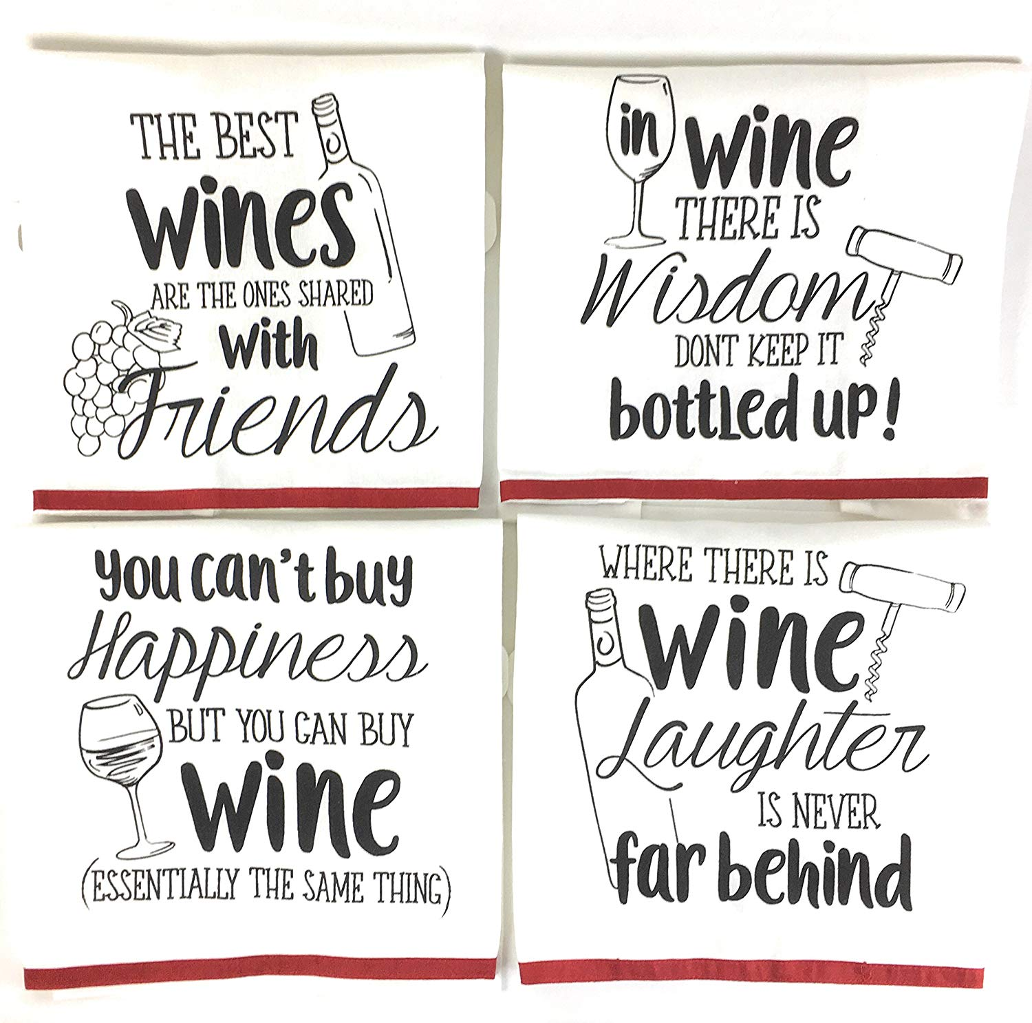 Wine Funny Sayings Kitchen Towels with Hang Loops, Set of 4.