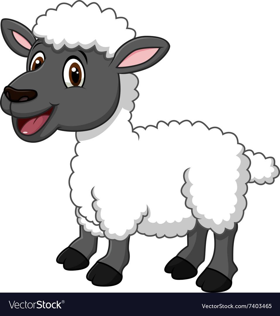 Cartoon funny sheep posing isolated.