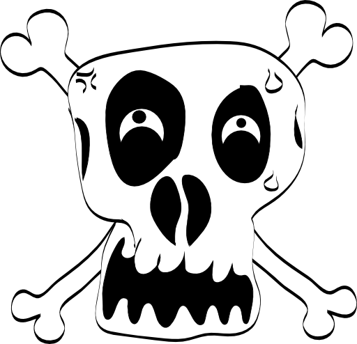 Freehand Funny Skull Clipart.