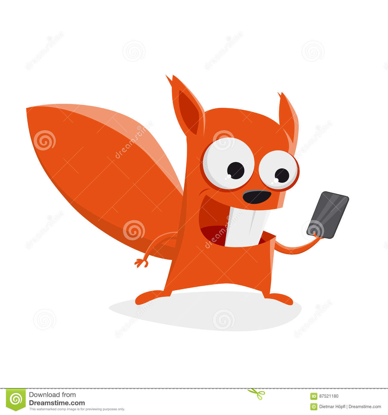 Funny Squirrel With Smartphone Stock Vector.