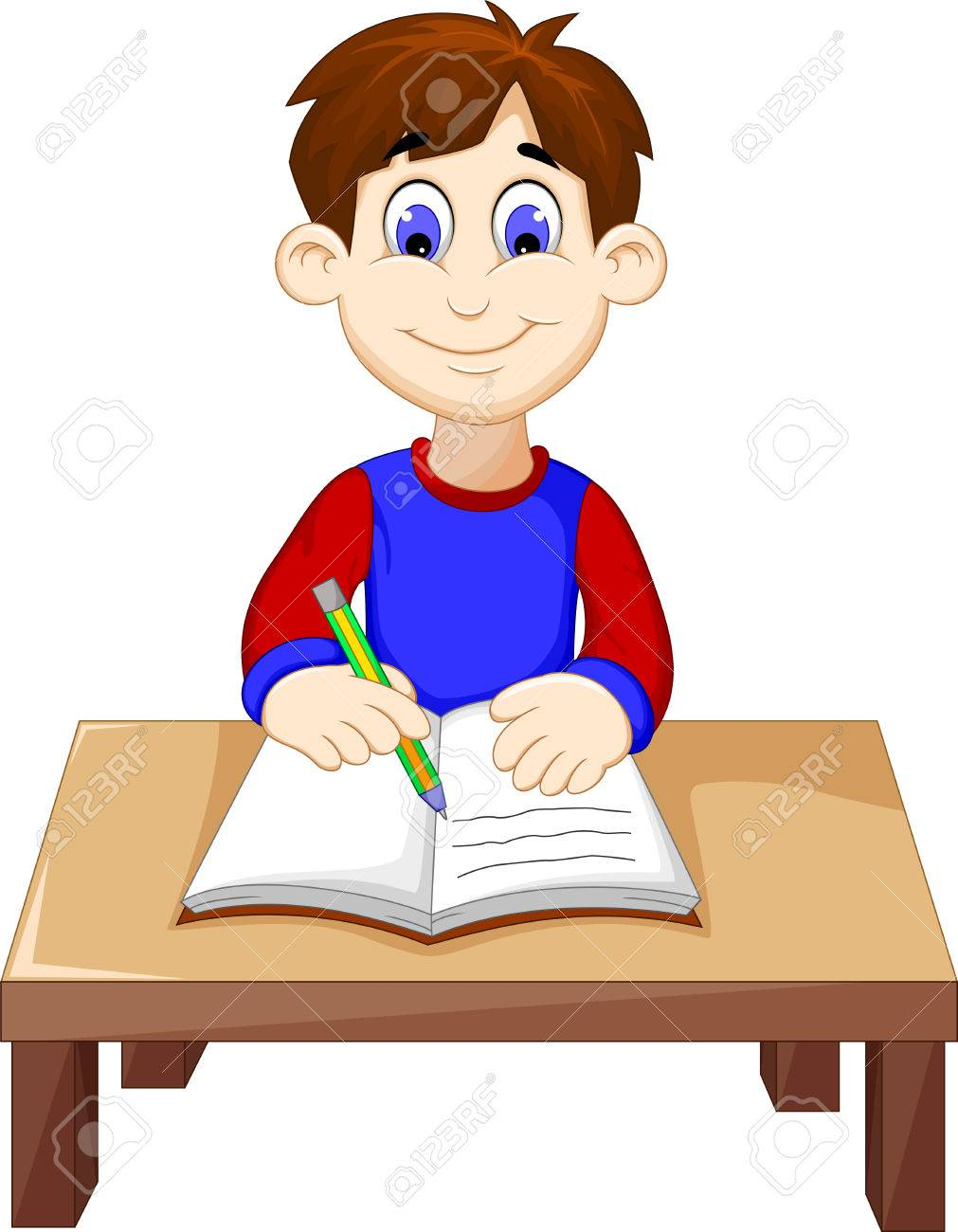 funny Boy cartoon writing above a desk.