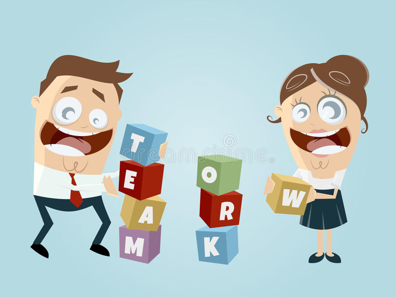Funny Teamwork Stock Illustrations.
