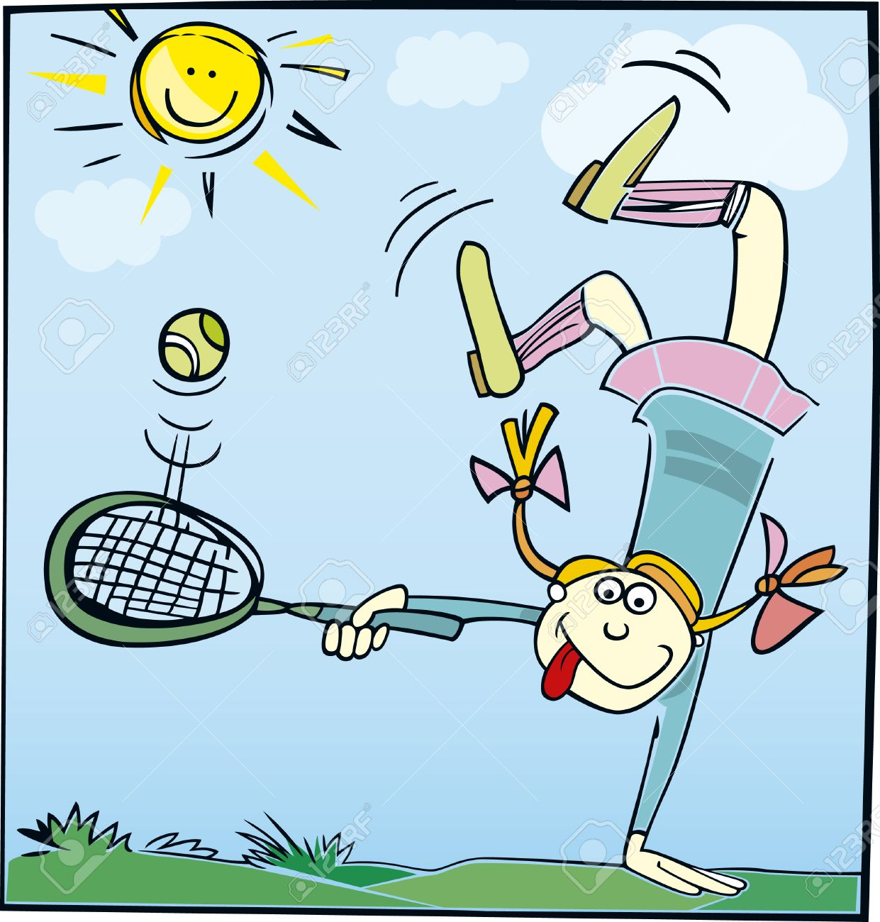 funny little girl playing tennis.
