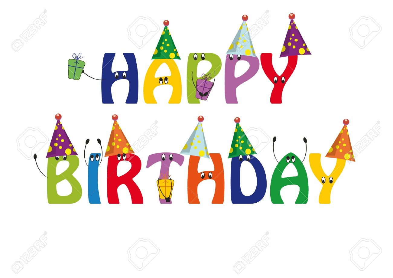 Happy Birthday Card With Colorful And Funny Letters Royalty Free.