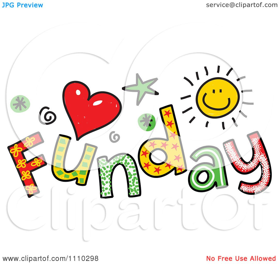 Clipart Colorful Sketched Funday Text.