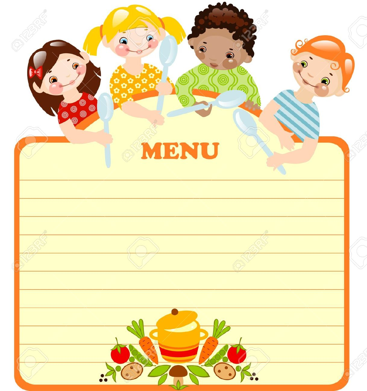 Funny Kids With Spoons.menu. Place For Your Text. Royalty Free.