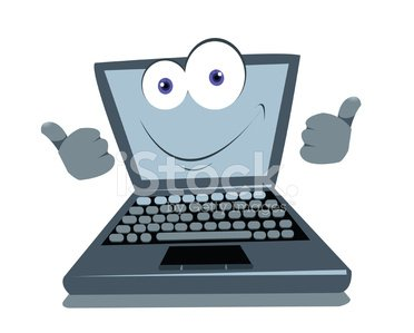 Funny Laptop Thumbs up Clipart Image.