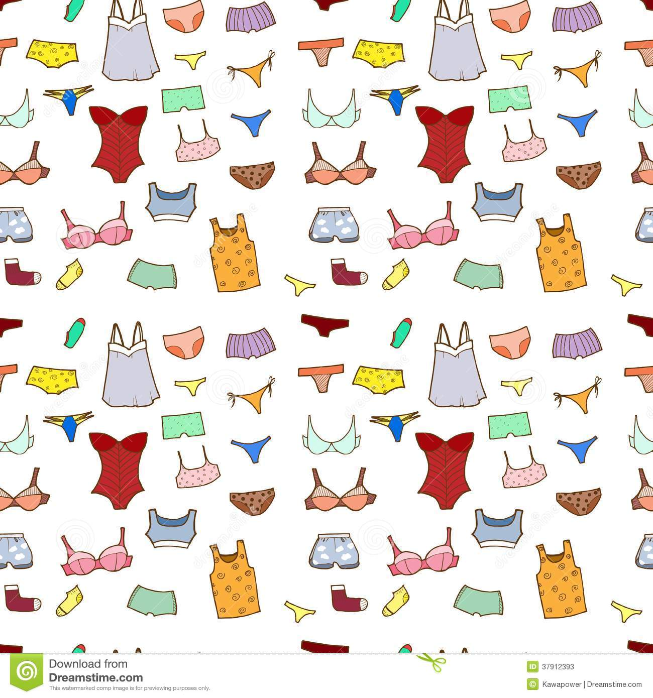 Vector Seamless Pattern With Panty, Lingerie And U Stock Photos.