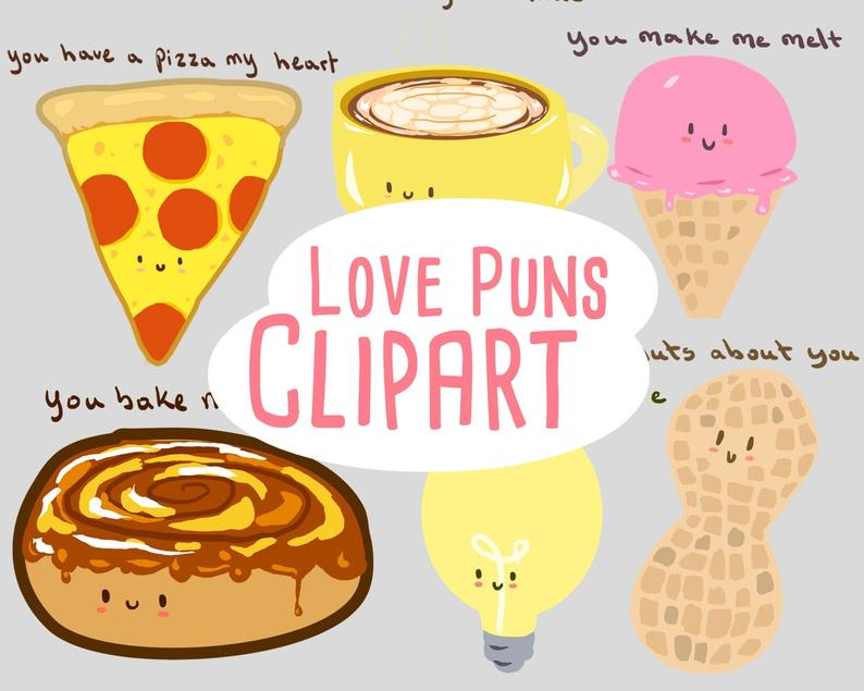 Valentine's Day Clipart, Valentine clipart, Funny Valentines puns for  personal and commercial use, scrapbooking, planner stickers.