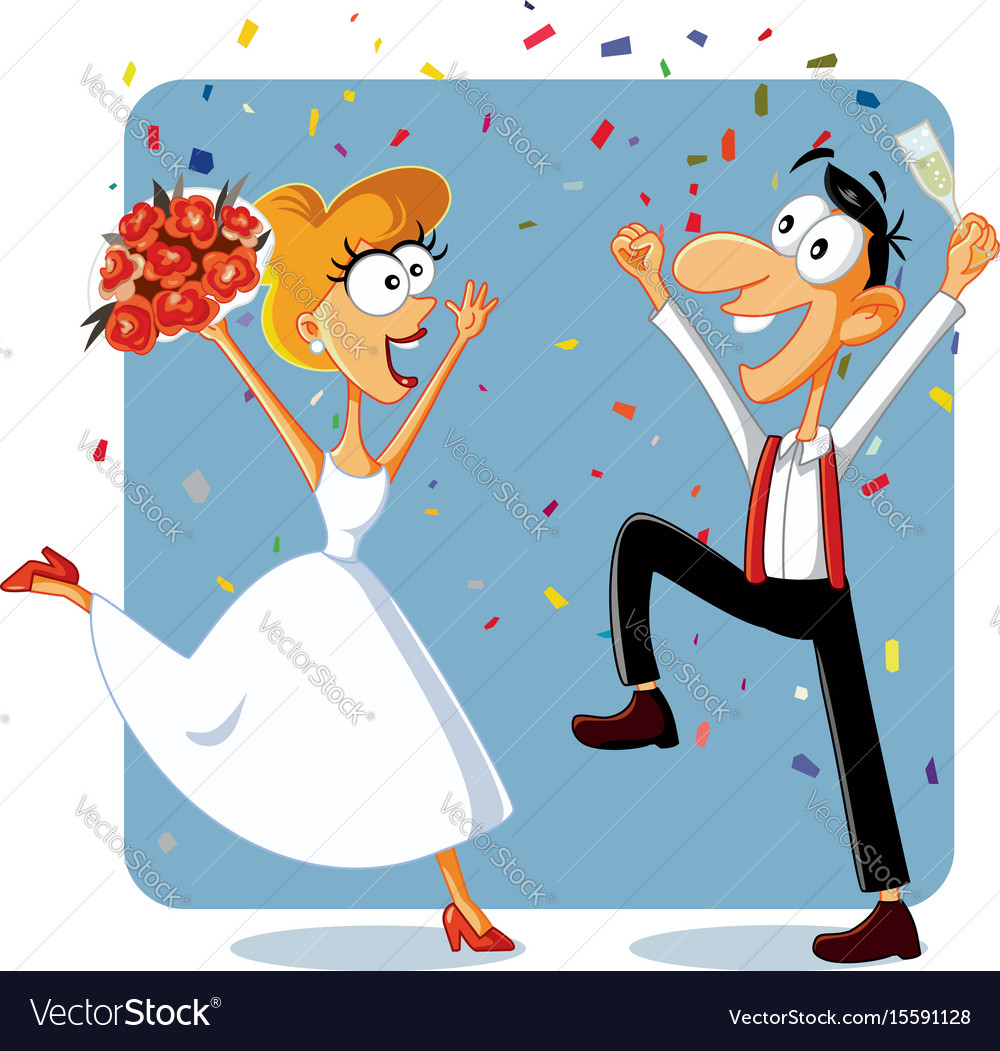 Funny bride and groom dancing at their wedding vec.