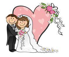 Cartoon Funny Bride And Groom.