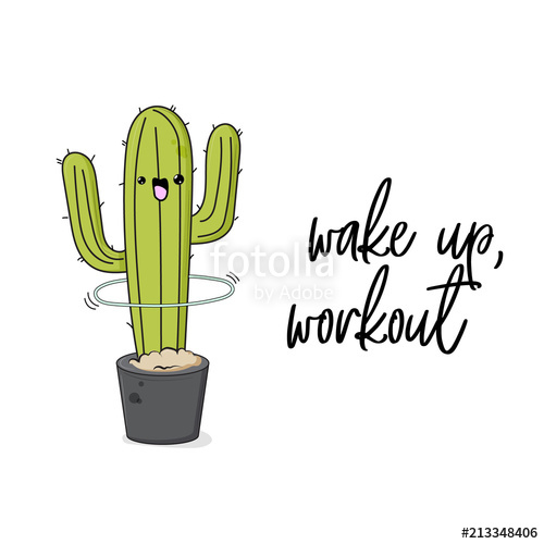 Vector funny cactus illustration with hula hoop and text.