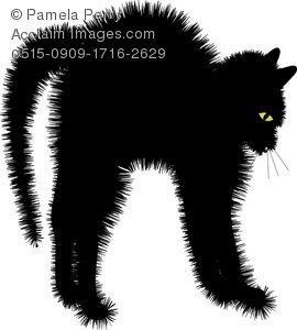 Clip Art Illustration of a Scared Black Cat With It's Fur Sticking.