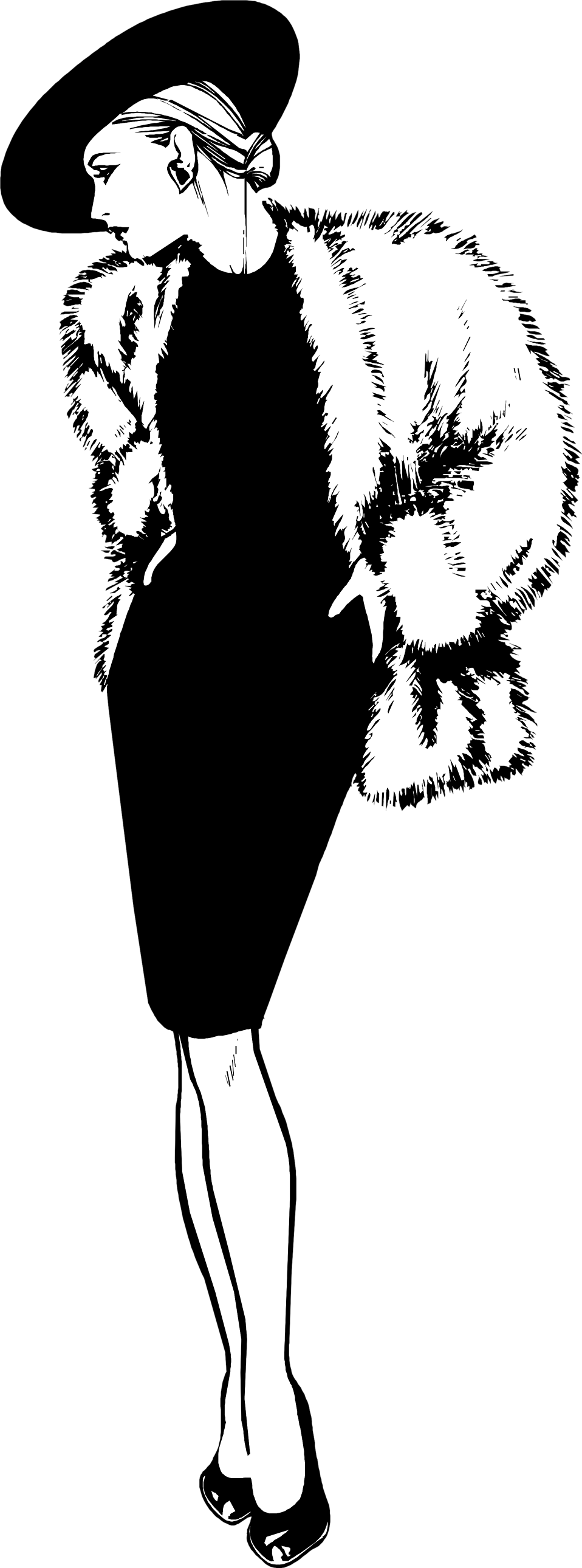Fur clipart black and white.