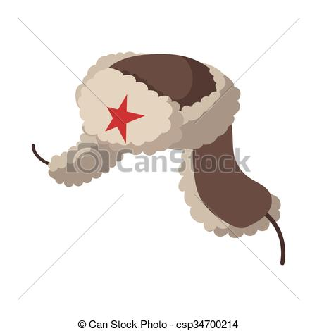 Vector Clip Art of Russian fur hat earflaps icon, cartoon style.