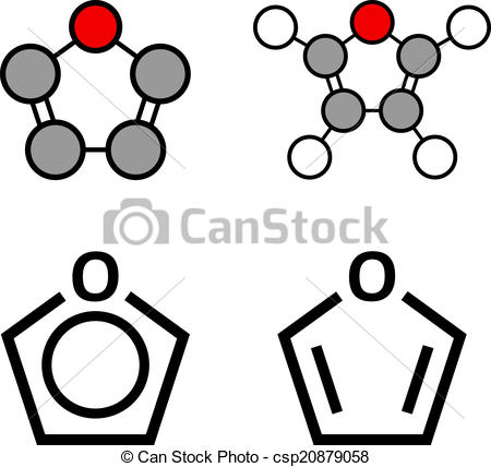 Clipart Vector of Furan heterocyclic aromatic molecule. Stylized.