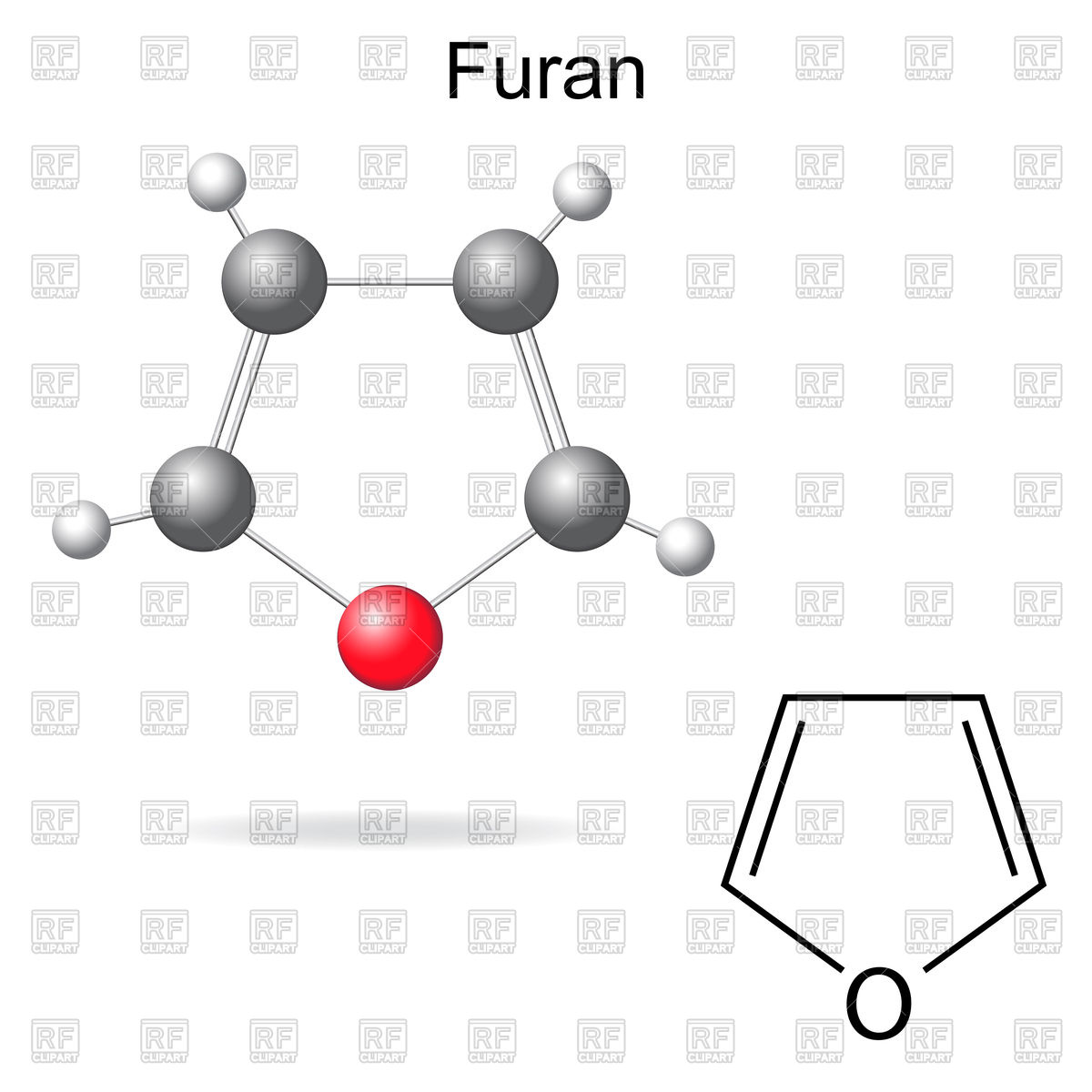Structural chemical formula and model of furan Vector Image #86581.