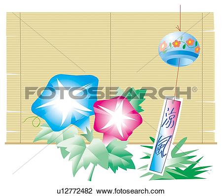 Clip Art of Morning Glories and wind bell(furin) in summer.
