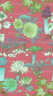 Japanese Garden With Furin Bells on Madder Rose fabric.