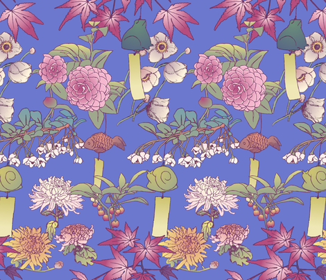 Japanese Garden With Furin Bells on Blue fabric.
