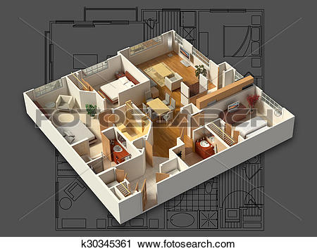 Clipart of 3D Furnished House Interior k30345361.