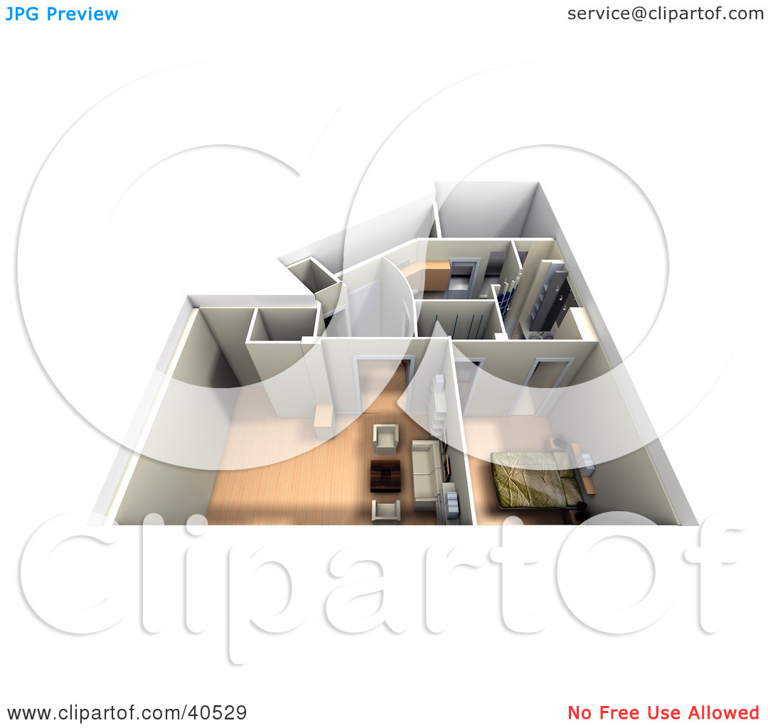 Clipart Illustration of an Aerial View Of A Furnished 3d Home.