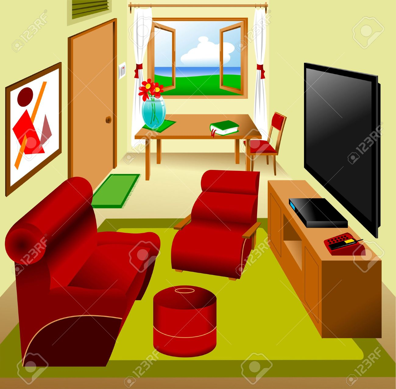 Living Room Clipart Flow Fund Main Saloon In The Apartment Furnished Vector Royalty Free