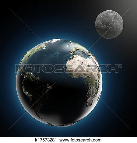 Clipart of The Earth and Moon (elements furnished by NASA.
