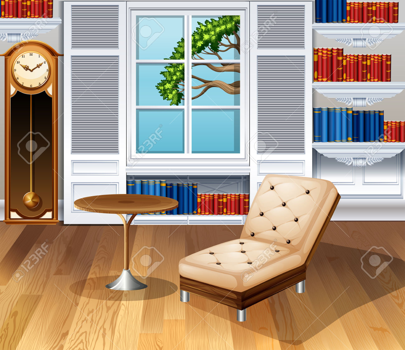 Living Room Fully Furnished Illustration Royalty Free Cliparts.
