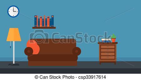 Vector Clip Art of Background of furnished room vector flat design.