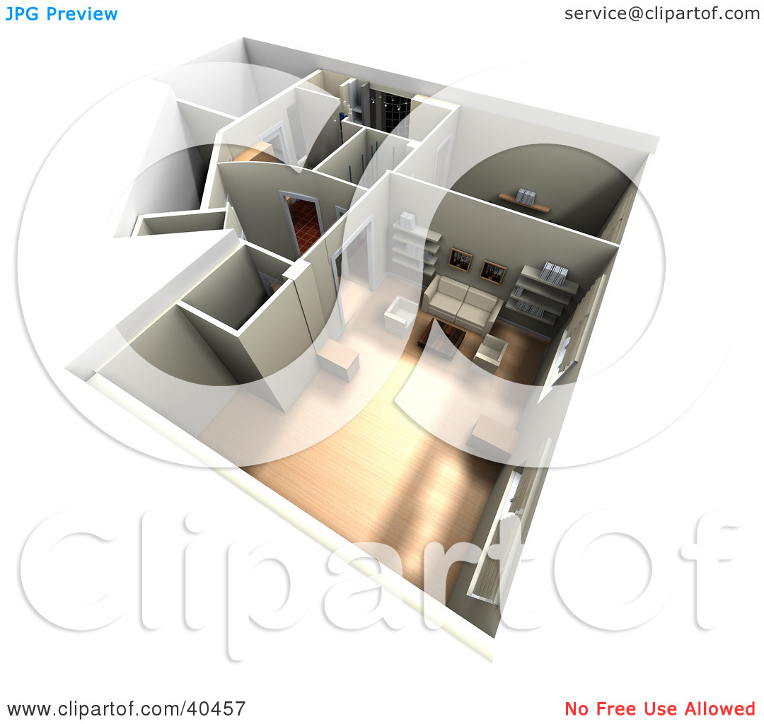 Clipart Illustration of a 3d Furnished Home Interior Floor Plan by.