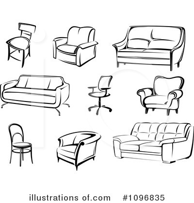 Furniture Clip Art Black White.