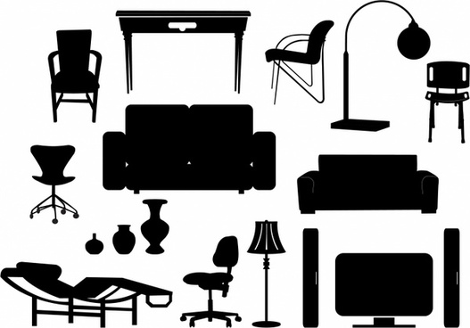 Antique furniture silhouette free vector download (6,735.