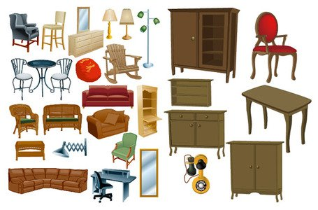 Variety of furniture, material furniture Clipart Picture.
