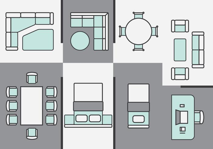Architecture Plans Furniture Icons.