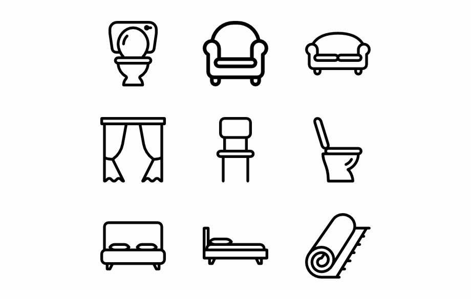 Interior Furniture Hand Drawn Social Media Icons Png.