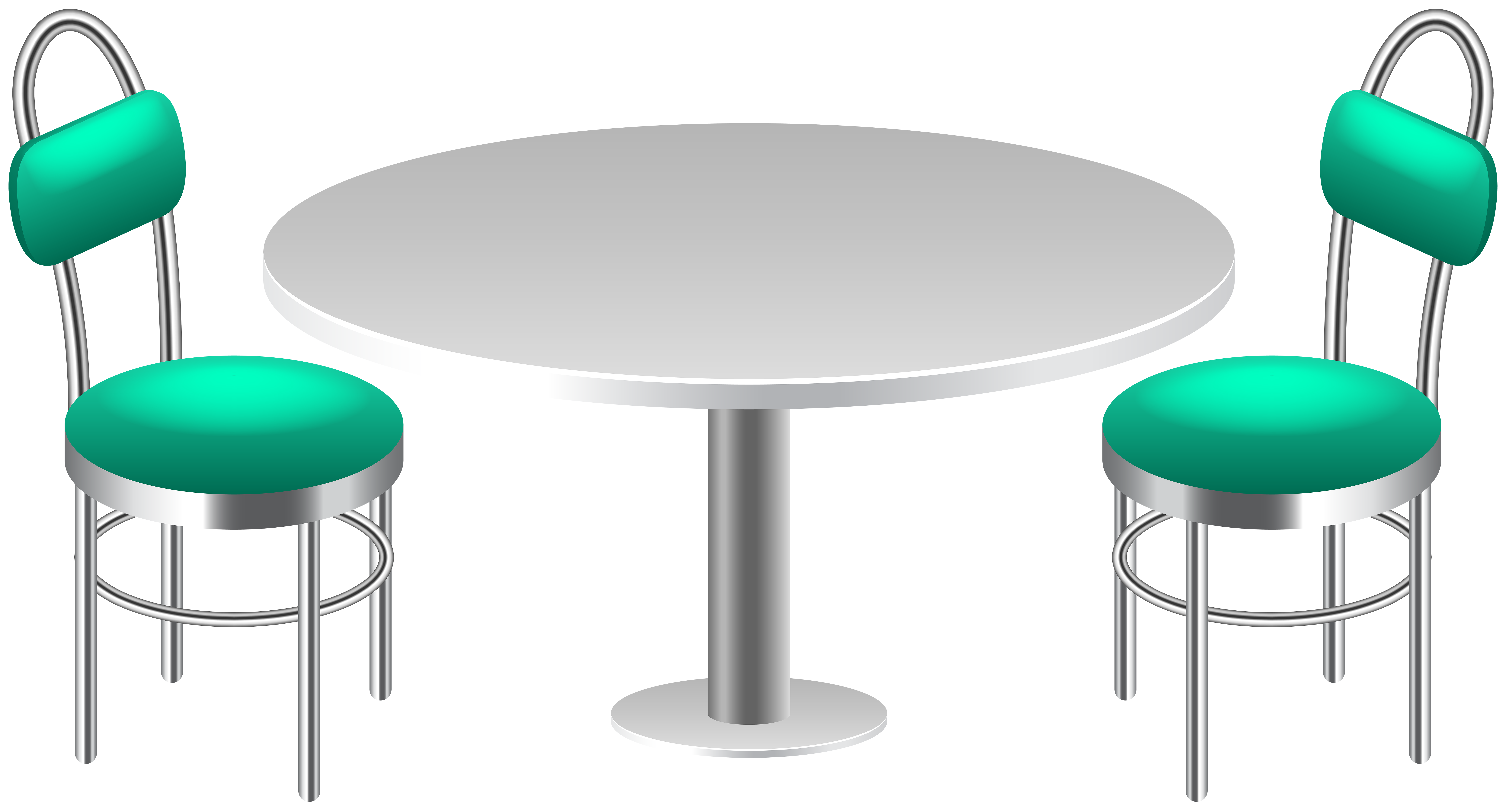 Table with Chairs Transparent PNG Clip Art.