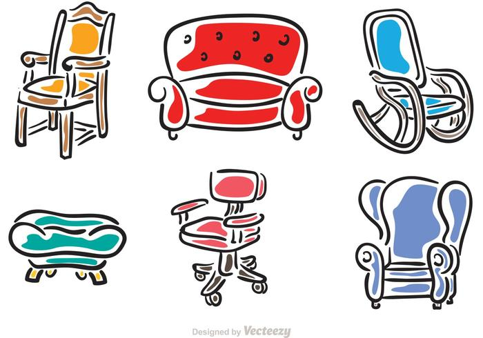 Hand Drawn Chairs Vectors.