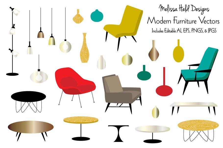 Modern Furniture Vectors.