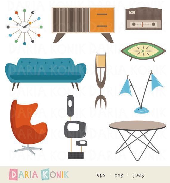 Retro Furniture Clipart Set.