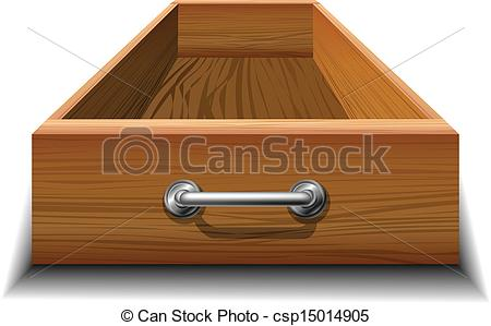 Vector Clipart of Opened wood drawer with metallic handle.