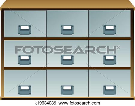 Clipart of Drawers whith labels on handles k19634085.