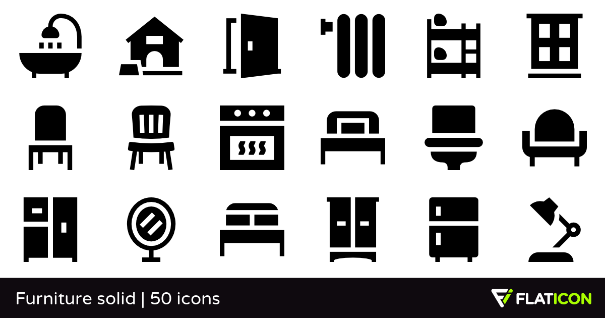 Furniture solid 50 free icons (SVG, EPS, PSD, PNG files).