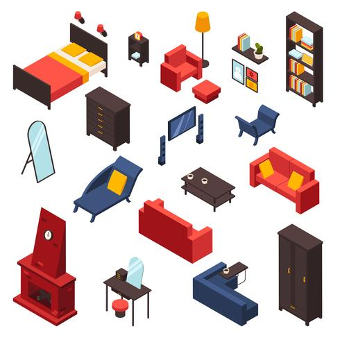 Living Room Furniture Icons Set.
